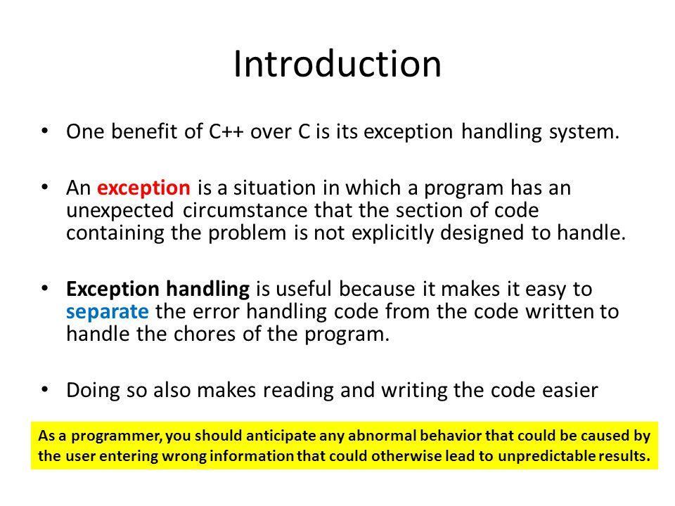 catch-block Parameter Recall: catch(int e) e called catch-block parameter, i.e.