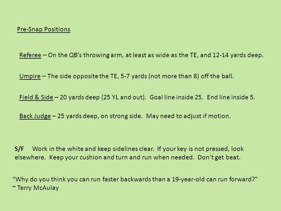 Pre-Snap Positions Referee – On the QB's throwing arm, at least as wide as the TE, and 12-14 yards deep.