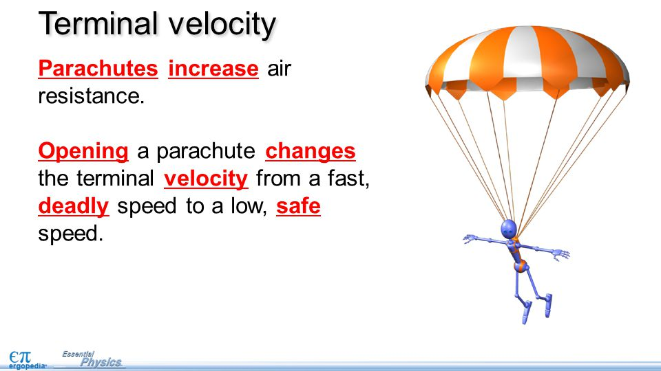 Parachutes increase air resistance. Opening a parachute changes the terminal velocity from a fast, deadly speed to a low, safe speed. Terminal velocit