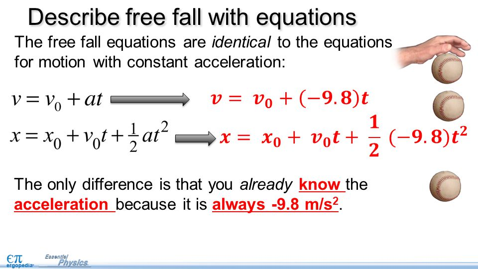 The only difference is that you already know the acceleration because it is always -9.8 m/s 2.
