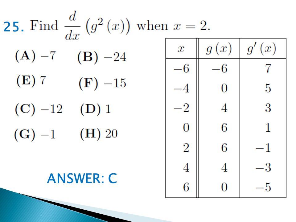 ANSWER: C 25.