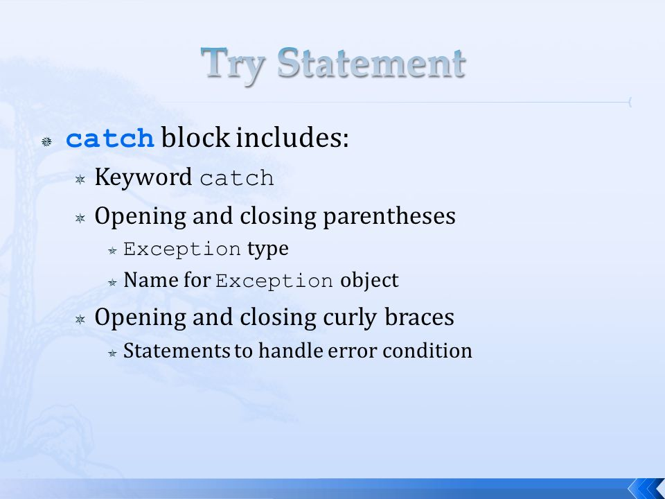  catch block includes:  Keyword catch  Opening and closing parentheses  Exception type  Name for Exception object  Opening and closing curly bra