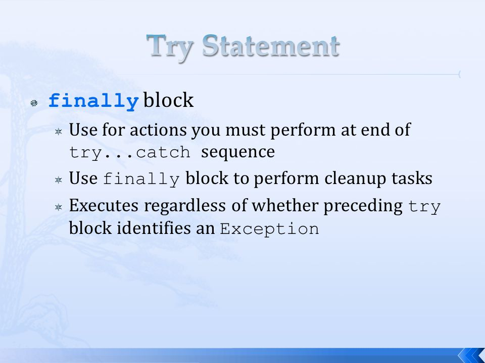  finally block  Use for actions you must perform at end of try...catch sequence  Use finally block to perform cleanup tasks  Executes regardless of whether preceding try block identifies an Exception