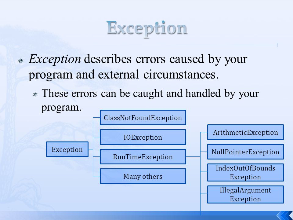  Exception describes errors caused by your program and external circumstances.  These errors can be caught and handled by your program. Exception Cl