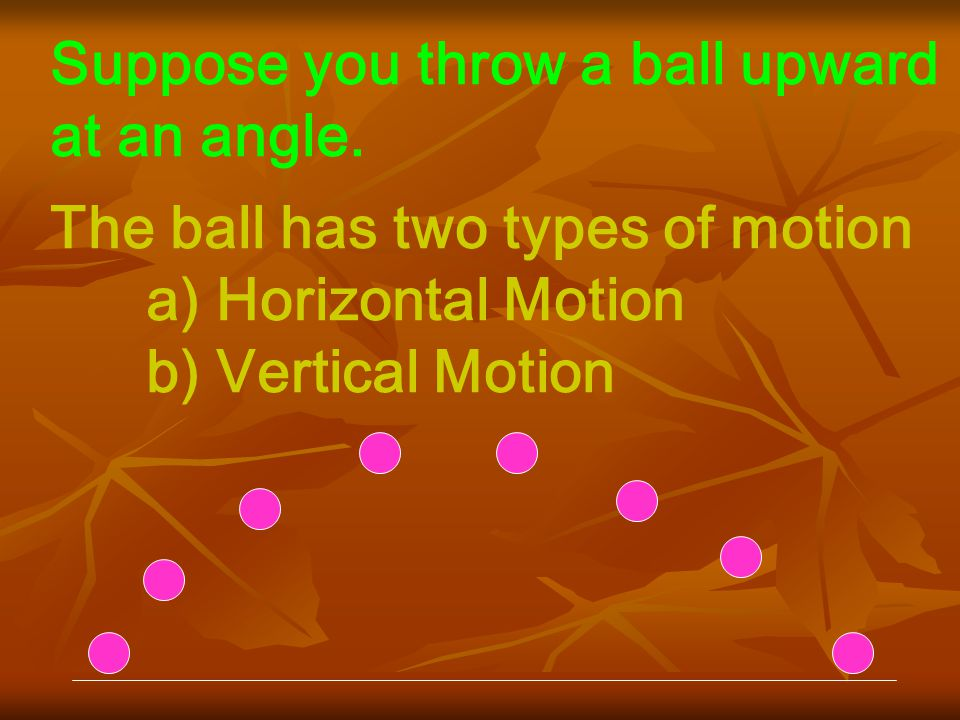 Suppose you throw a ball upward at an angle.