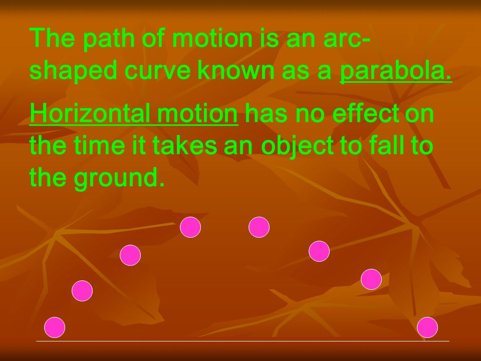 The path of motion is an arc- shaped curve known as a parabola.
