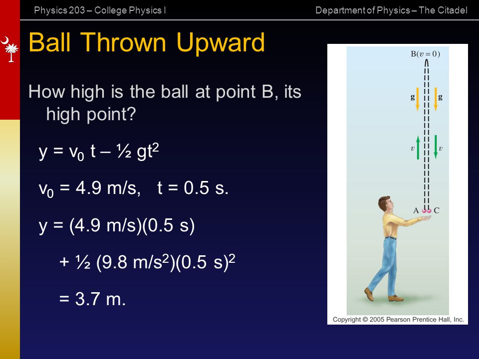 Physics 203 – College Physics I Department of Physics – The Citadel Ball Thrown Upward How high is the ball at point B, its high point? y = v 0 t – ½