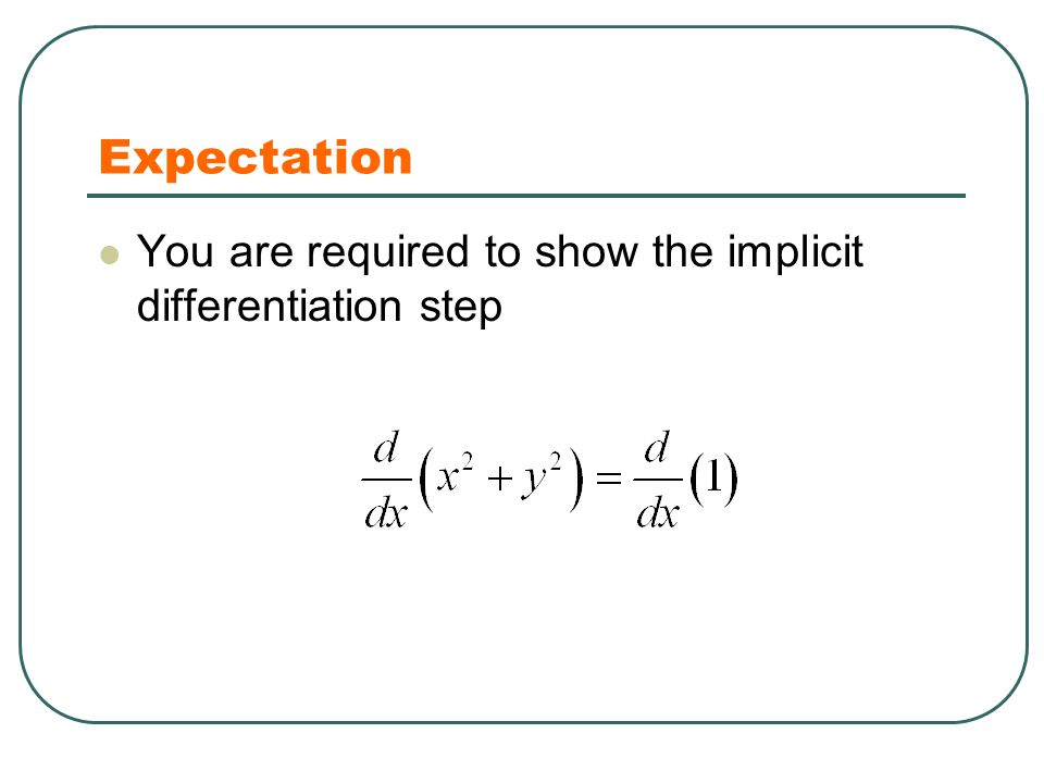 Expectation You are required to show the implicit differentiation step