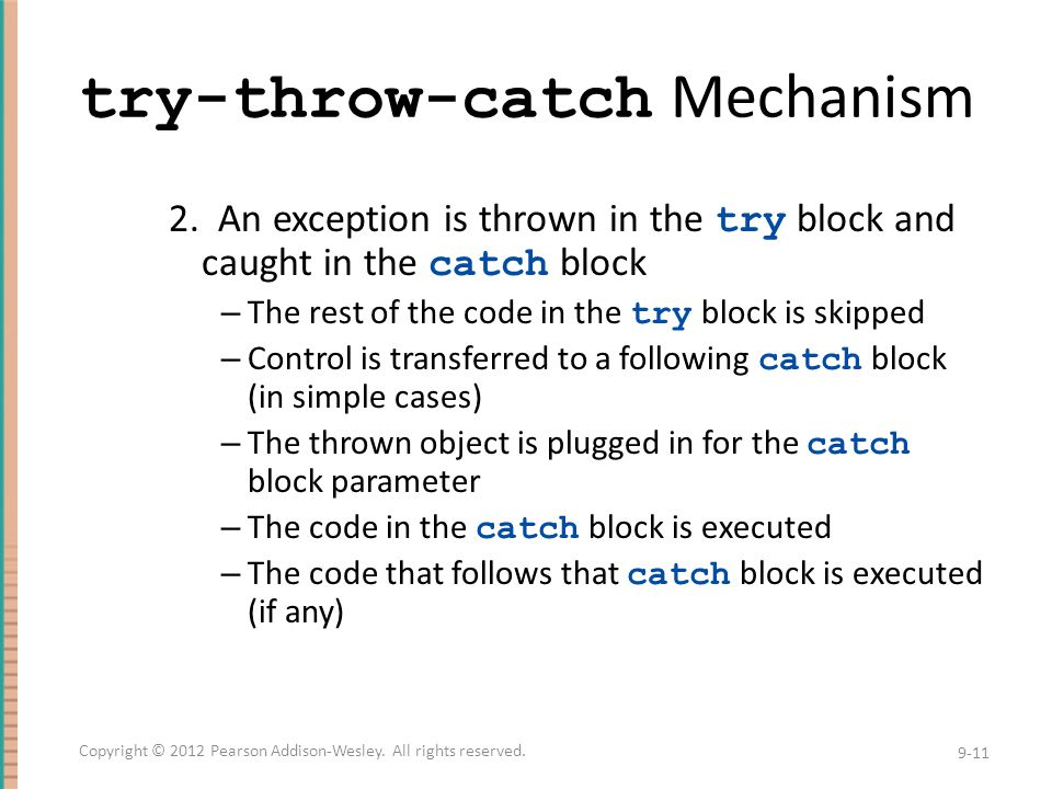 try-throw-catch Mechanism 2.