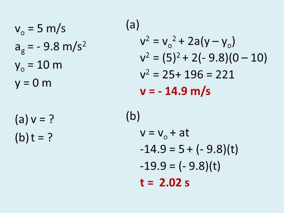 v o = 5 m/s a g = - 9.8 m/s 2 y o = 10 m y = 0 m (a)v = ? (b)t = ? (a) v 2 = v o 2 + 2a(y – y o ) v 2 = (5) 2 + 2(- 9.8)(0 – 10) v 2 = 25+ 196 = 221 v