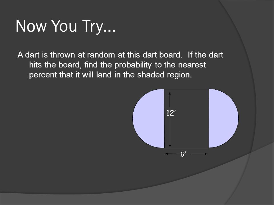 Now You Try… A dart is thrown at random at this dart board.