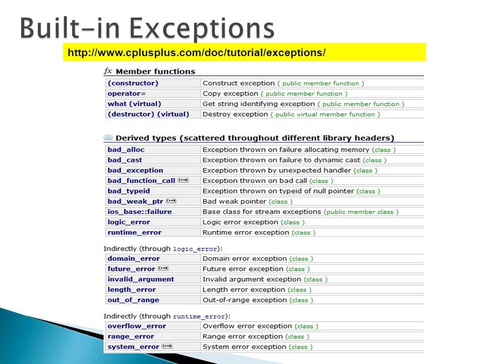 http://www.cplusplus.com/doc/tutorial/exceptions/