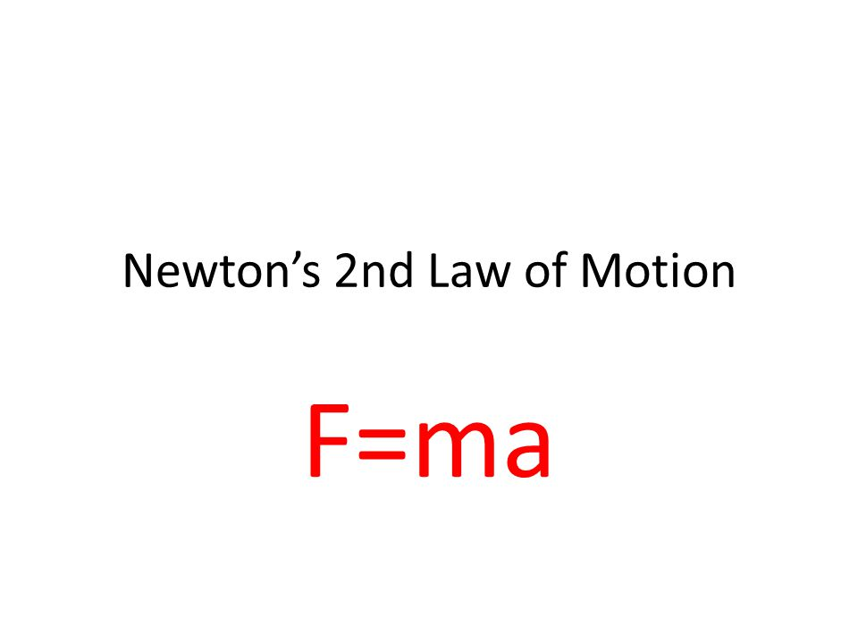 Newton's 2nd Law of Motion F=ma