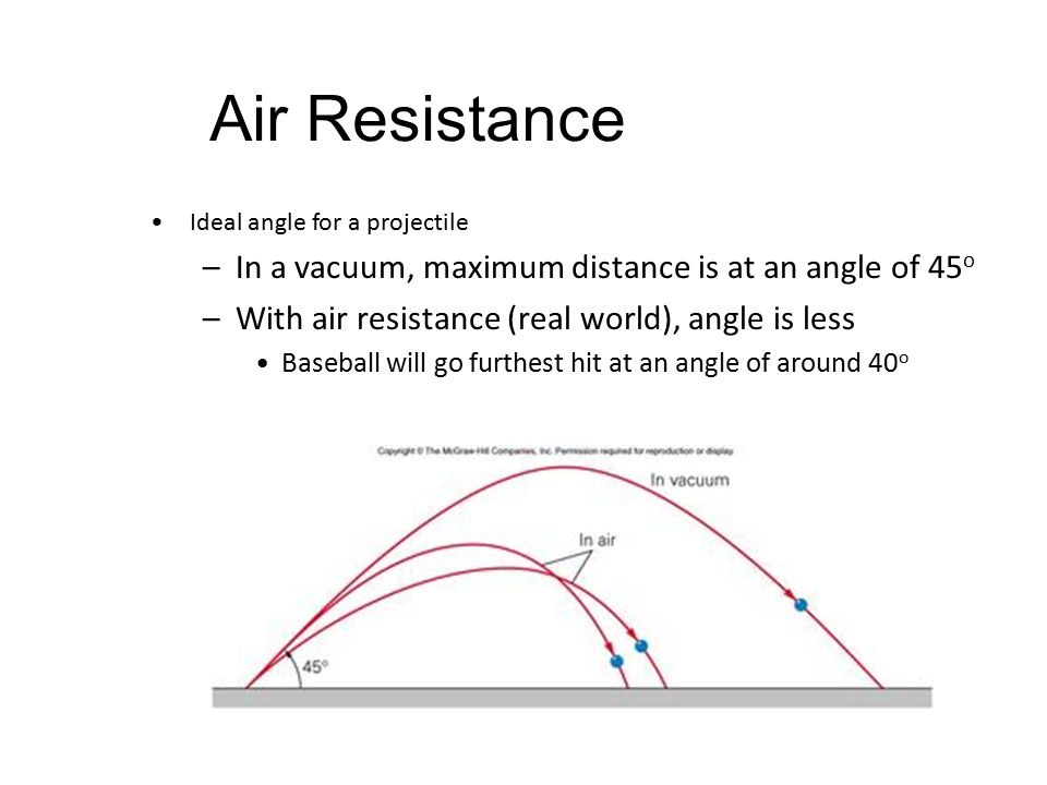 Air Resistance Ideal angle for a projectile –In a vacuum, maximum distance is at an angle of 45 o –With air resistance (real world), angle is less Baseball will go furthest hit at an angle of around 40 o