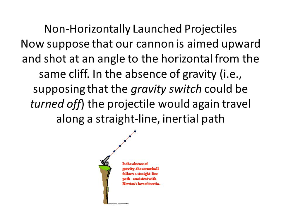 Non-Horizontally Launched Projectiles Now suppose that our cannon is aimed upward and shot at an angle to the horizontal from the same cliff.