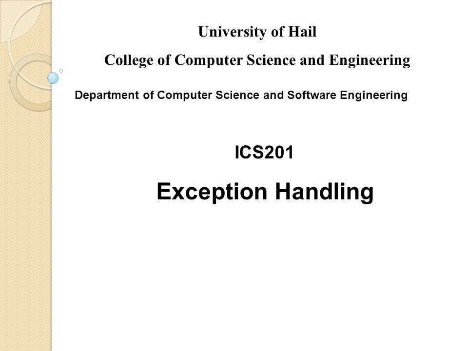 32 Trace a Program Execution try { statement1; statement2; statement3; } catch(Exception1 ex) { handling ex; } finally { finalStatements; } Next statement; Suppose an exception of type Exception1 is thrown in statement2