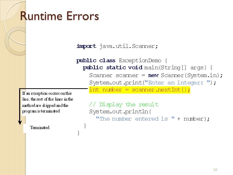 16 Runtime Errors