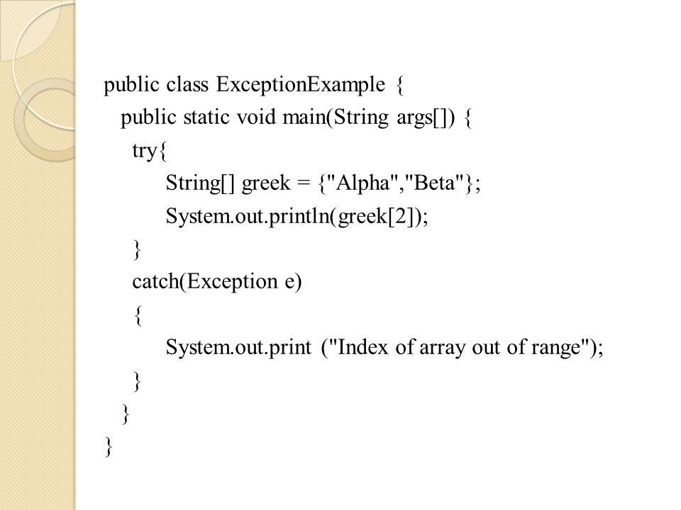 29 Trace a Program Execution try { statements; } catch(TheException ex) { handling ex; } finally { finalStatements; } Next statement; Suppose no exceptions in the statements