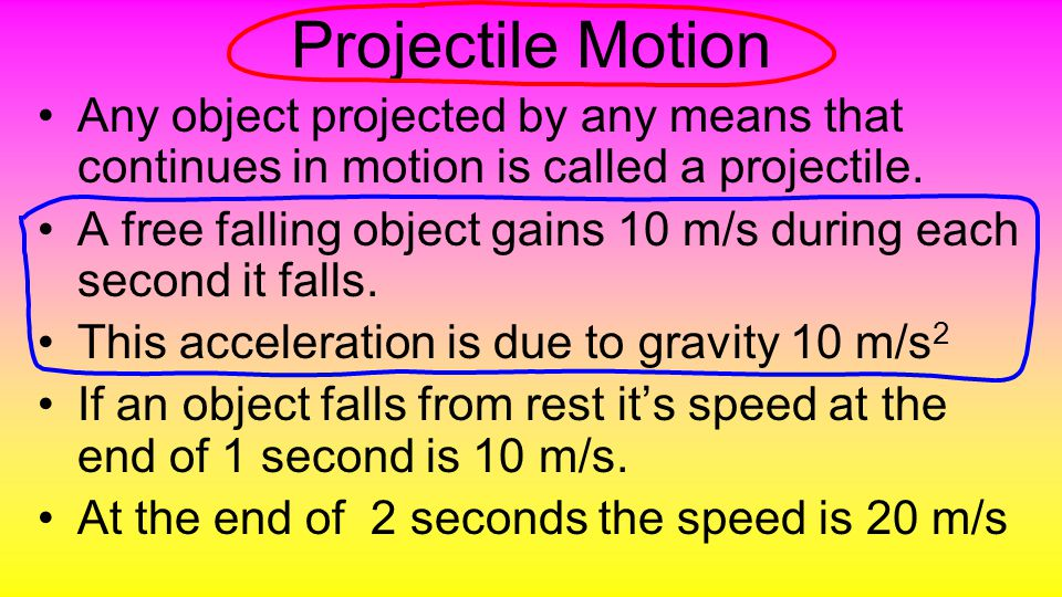 Projectile Motion The falling stone gains a speed of 10 m/s each second.