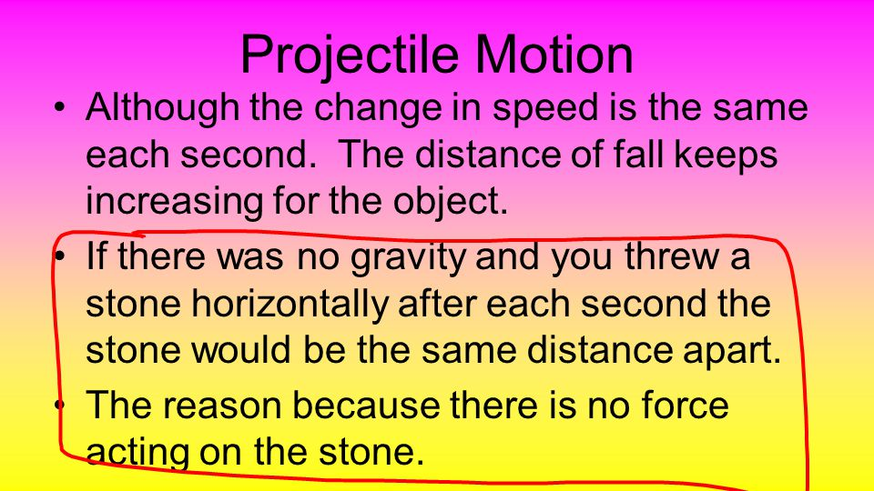 There is no difference in the spacing of a object thrown horizontally (if there was no gravity).