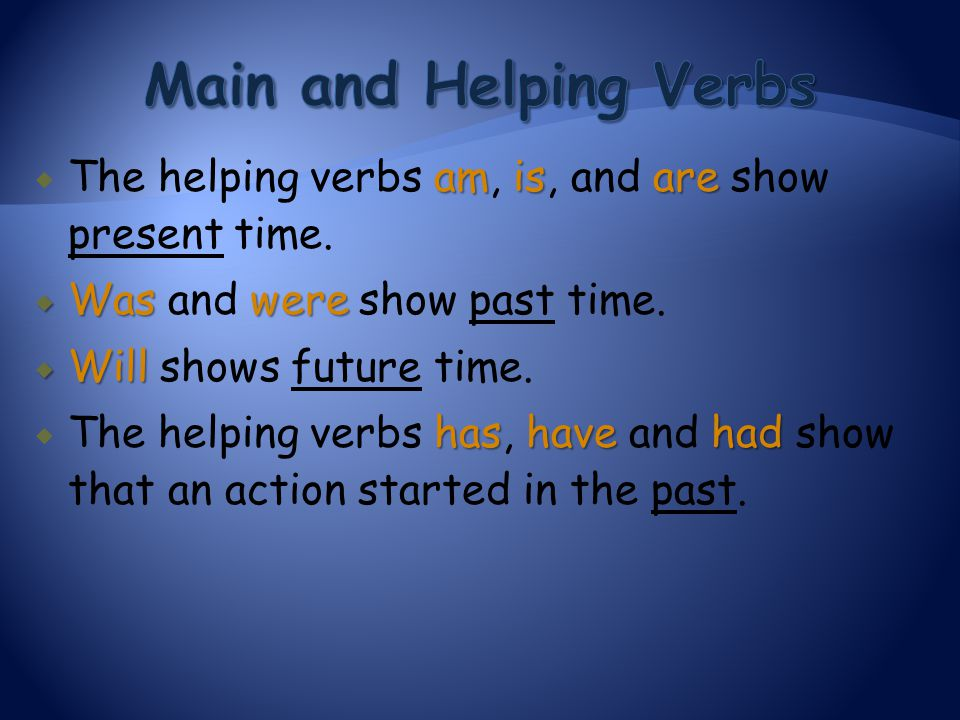 amisare  The helping verbs am, is, and are show present time.  Waswere  Was and were show past time.  Will  Will shows future time. hashavehad 