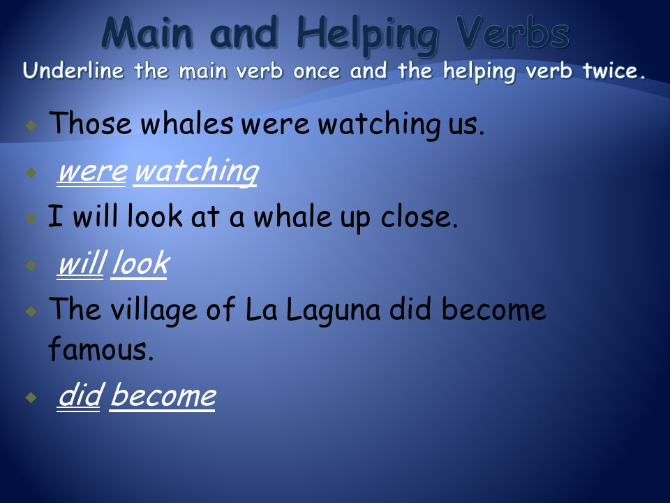  Those whales were watching us.  were watching  I will look at a whale up close.  will look  The village of La Laguna did become famous.  did be