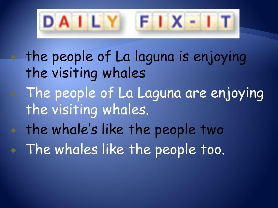  the people of La laguna is enjoying the visiting whales  The people of La Laguna are enjoying the visiting whales.  the whale's like the people tw