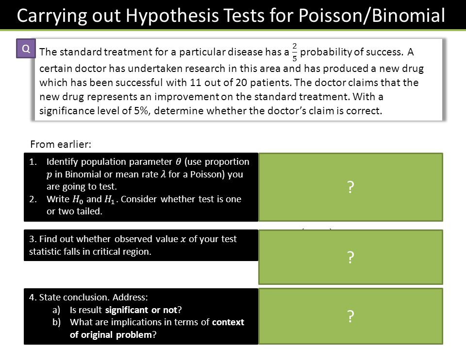 Carrying out Hypothesis Tests for Poisson/Binomial Q From earlier: 4.