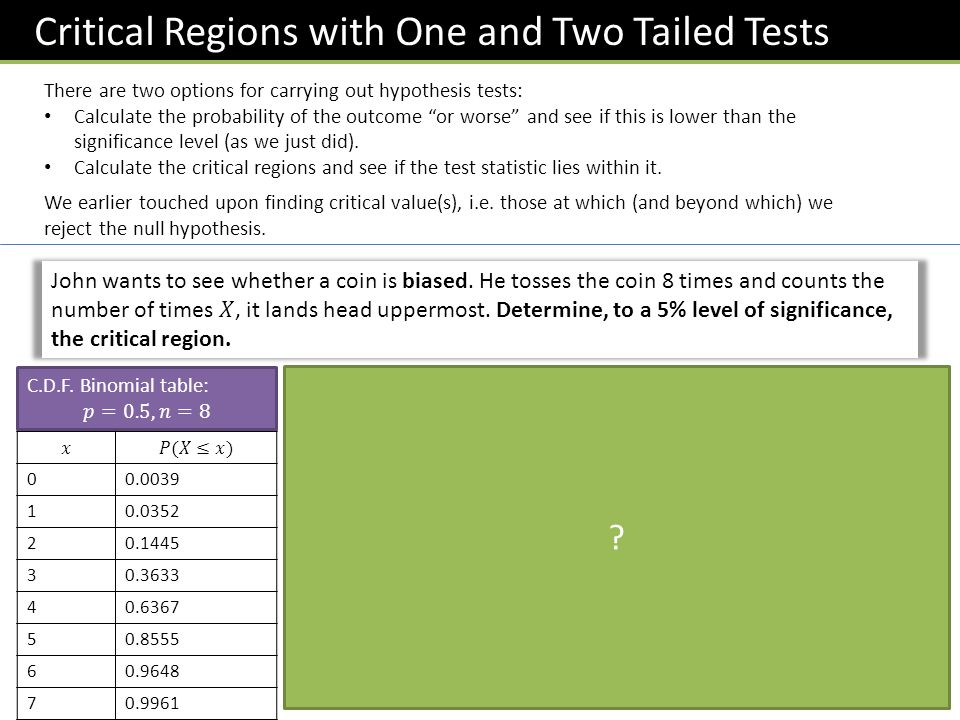 "Critical Regions with One and Two Tailed Tests There are two options for carrying out hypothesis tests: Calculate the probability of the outcome ""or w"