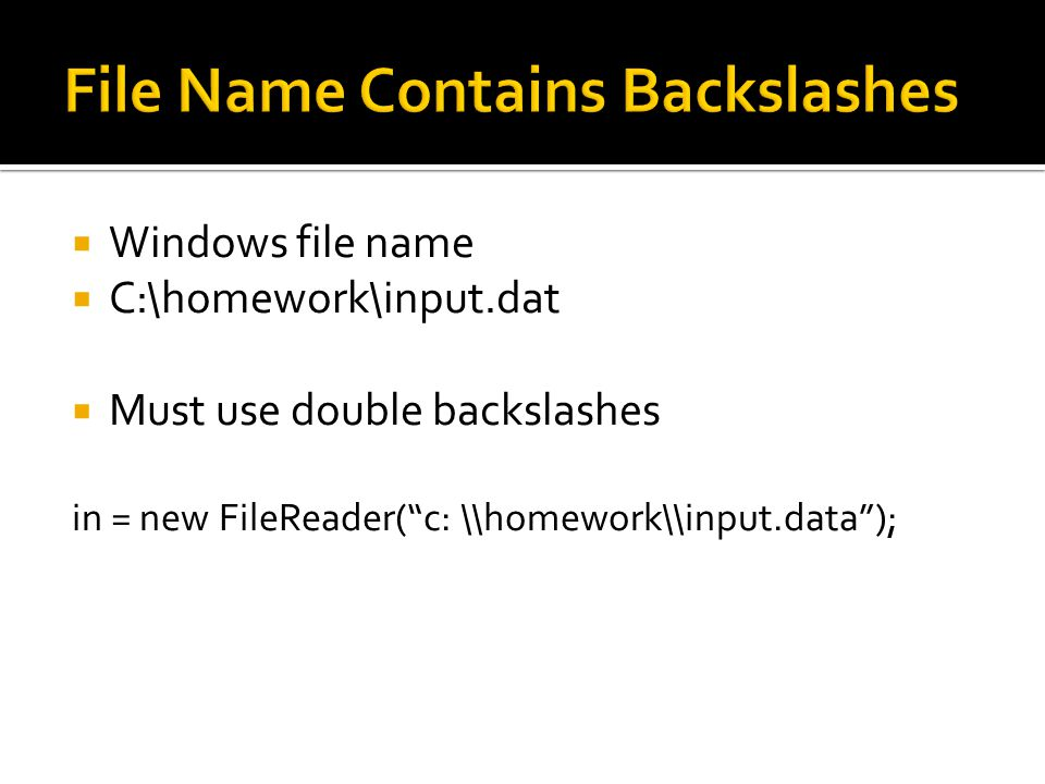  Windows file name  C:\homework\input.dat  Must use double backslashes in = new FileReader( c: \\homework\\input.data );