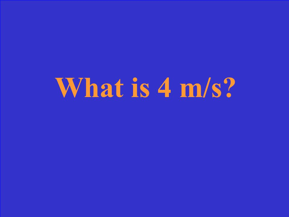 This is the speed of an object that starts from rest and travels 4 m with an acceleration of 2 m/s 2.
