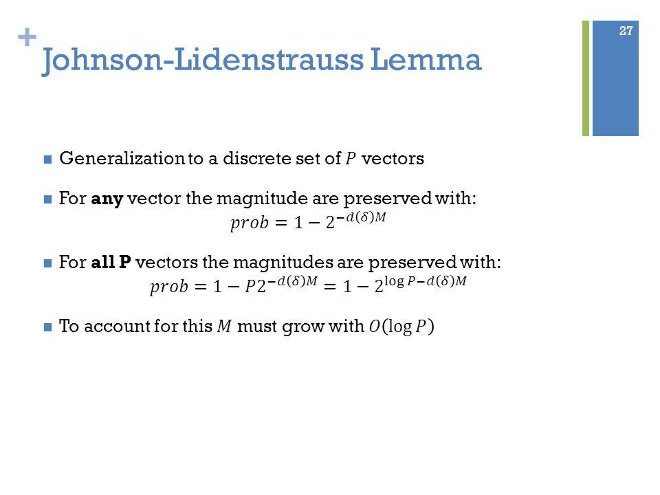 + Johnson-Lidenstrauss Lemma 27