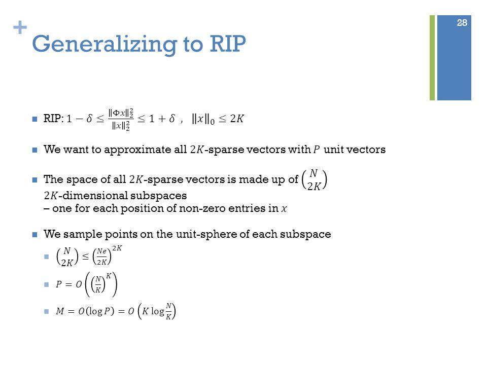 + Generalizing to RIP 28