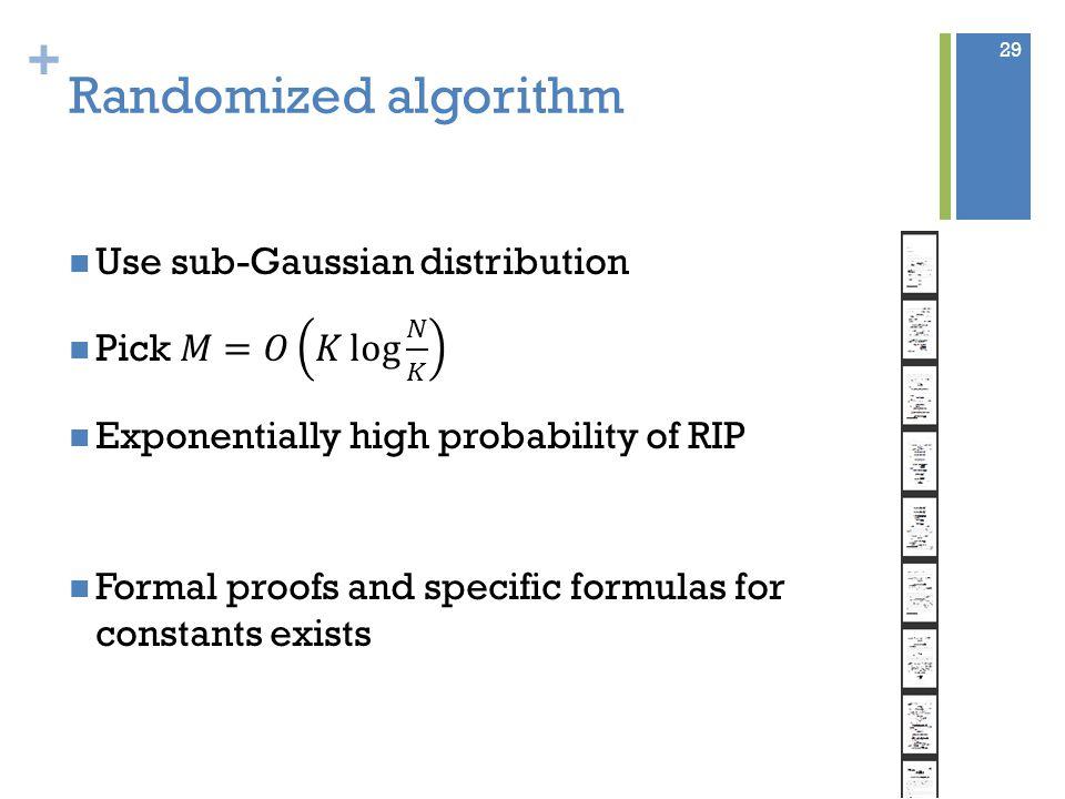 + Randomized algorithm 29