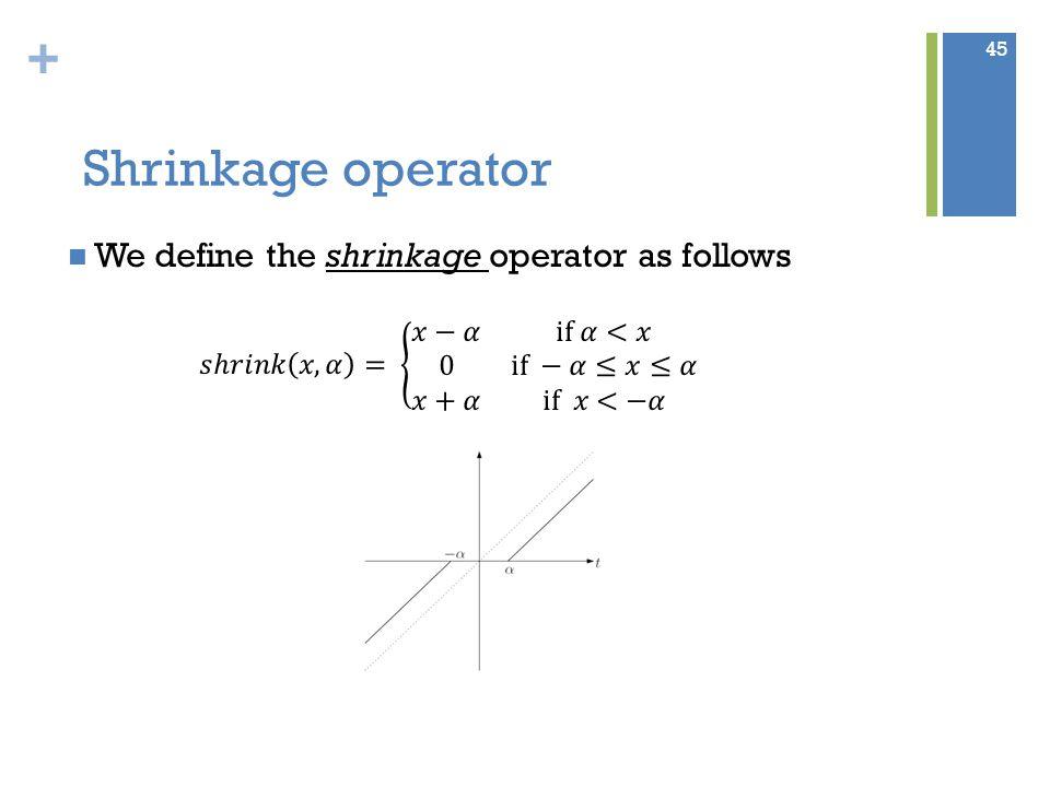 + Shrinkage operator 45