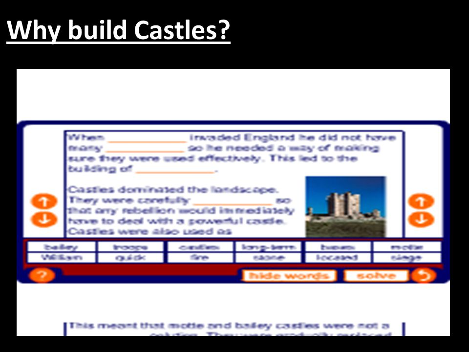 Where should you build castles.A castle's first defence was its location.