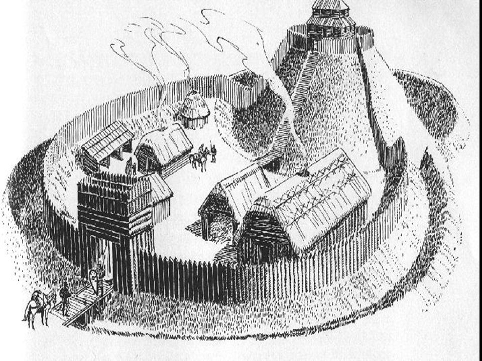KEEP (Watch Tower or don jon in French) PALISADE OR STOCKADE MOTTE MOAT (usually water filled) BRIDGE BAILEY DRAWBRIDGE KILLING GROUND