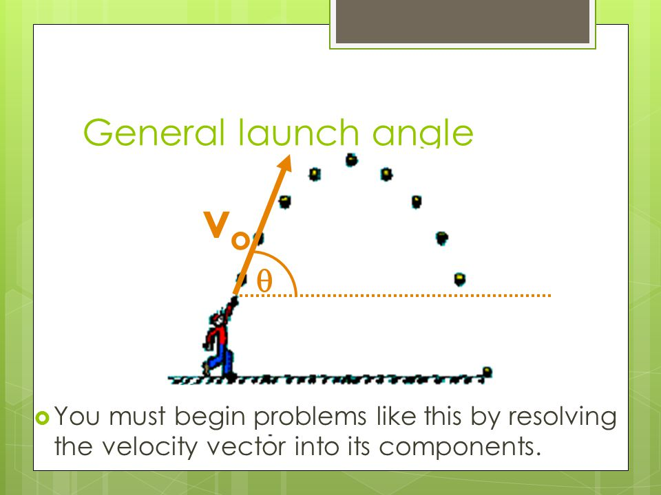 General launch angle  vovo  You must begin problems like this by resolving the velocity vector into its components.