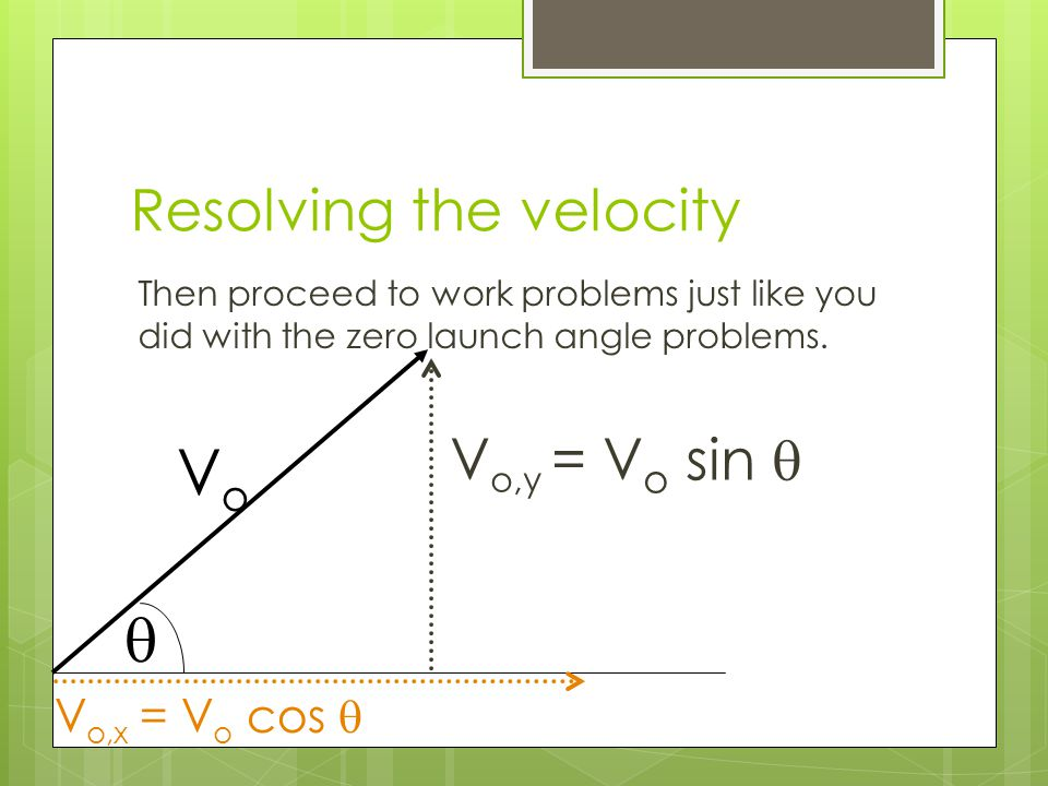 Resolving the velocity Then proceed to work problems just like you did with the zero launch angle problems.