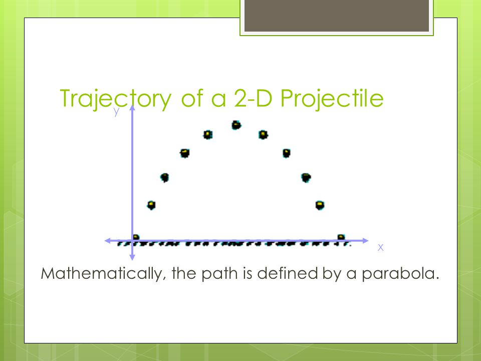 Trajectory of a 2-D Projectile x y Mathematically, the path is defined by a parabola.