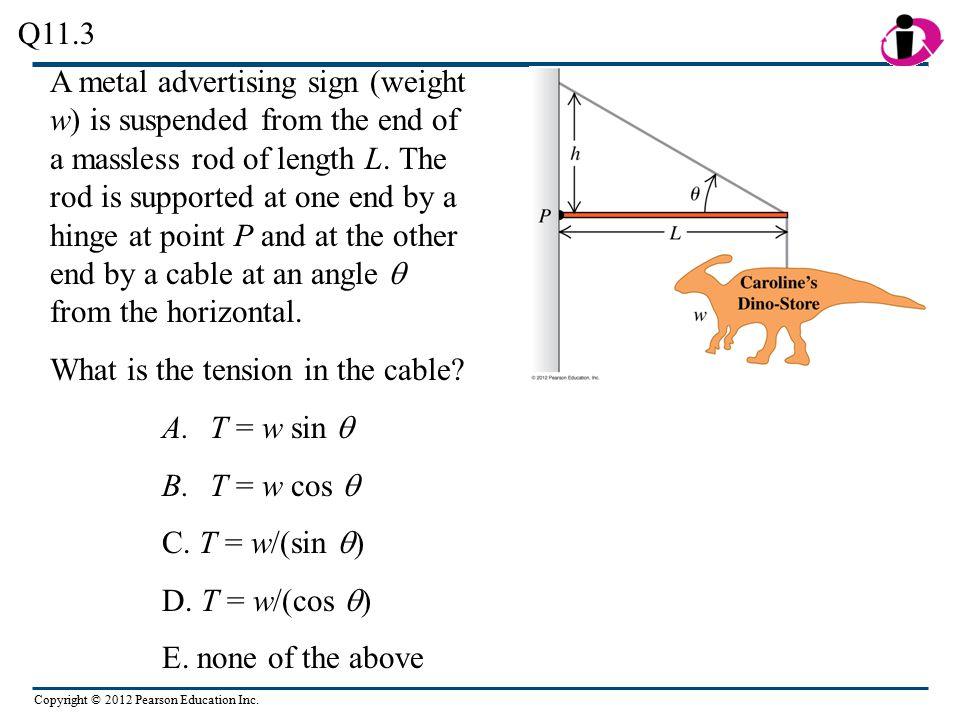 Copyright © 2012 Pearson Education Inc.A.T = w sin  B.T = w cos  C.