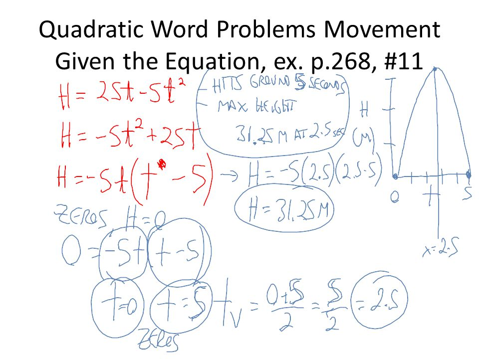 Quadratic Word Problems Movement Given the Equation, ex. p.268, #11