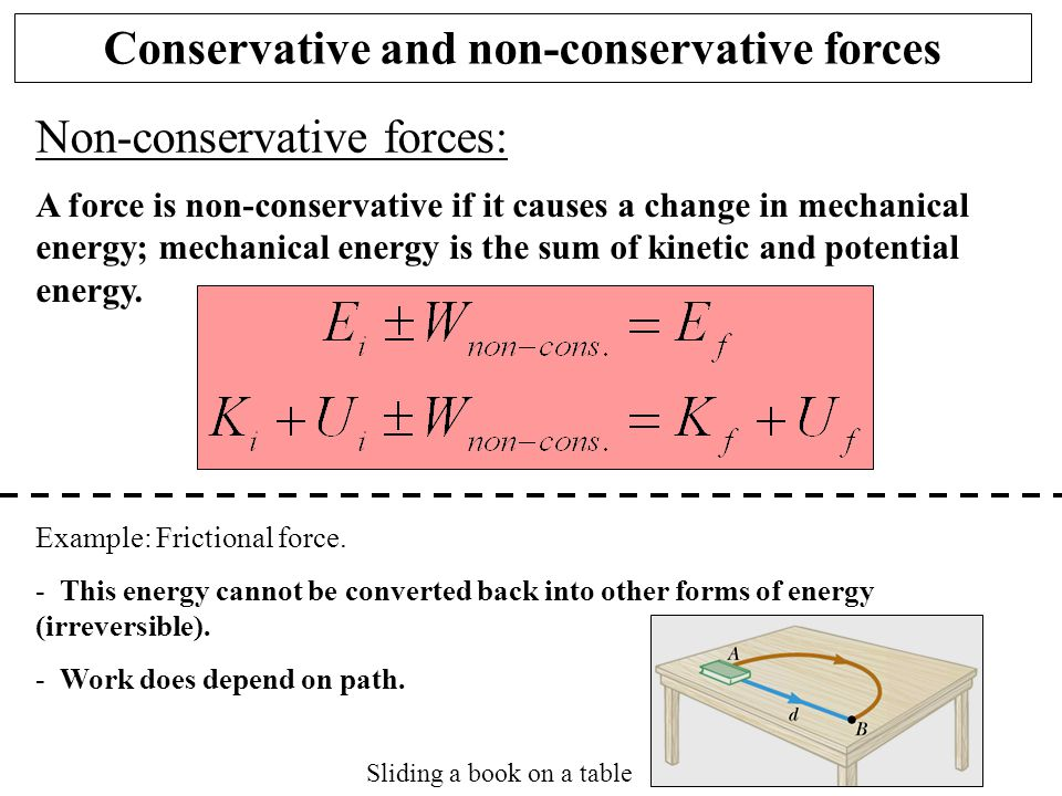 Non-conservative forces: A force is non-conservative if it causes a change in mechanical energy; mechanical energy is the sum of kinetic and potential