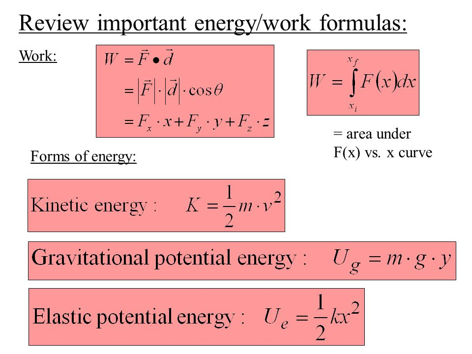 Review important energy/work formulas: Work: Forms of energy: = area under F(x) vs. x curve