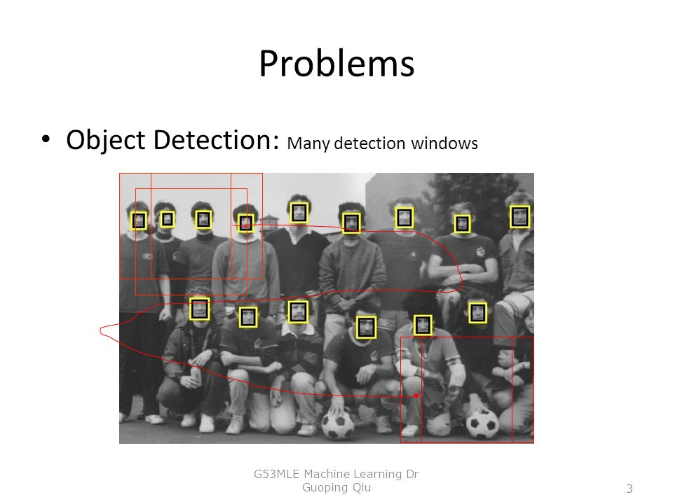 Problems Object Detection: Many detection windows 3 G53MLE Machine Learning Dr Guoping Qiu