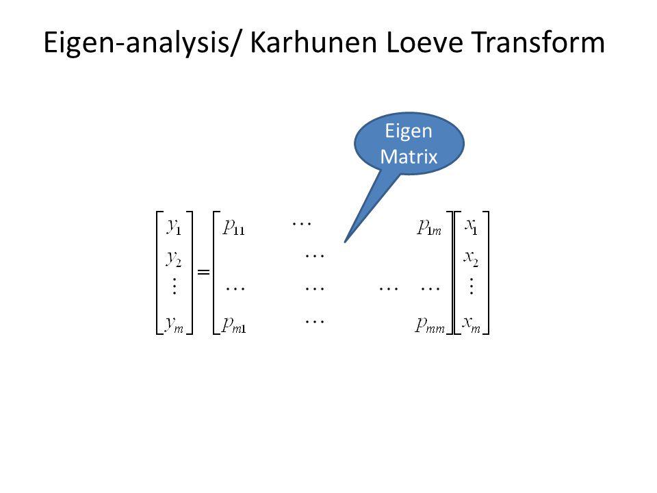Eigen-analysis/ Karhunen Loeve Transform Eigen Matrix