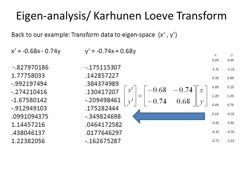 Eigen-analysis/ Karhunen Loeve Transform Back to our example: Transform data to eigen-space (x', y') x' = -0.68x - 0.74yy' = -0.74x + 0.68y -.827970186 -.175115307 1.77758033.142857227 -.992197494.384374989 -.274210416.130417207 -1.67580142 -.209498461 -.912949103.175282444.0991094375 -.349824698 1.14457216.0464172582.438046137.0177646297 1.22382056 -.162675287 0.690.49 -1.31-1.21 0.390.99 0.090.29 1.291.09 0.490.79 0.19-0.31 -0.81 -0.31 -0.71-1.01 x y