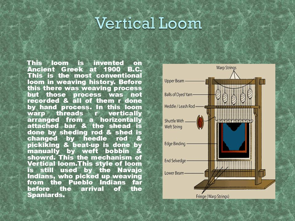This loom is invented on Ancient Greek at 1900 B.C. This is the most conventional loom in weaving history. Before this there was weaving process but t