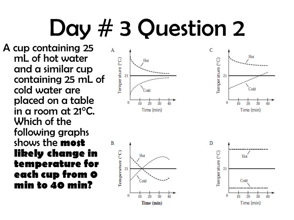 Day # 3 Question 2 A cup containing 25 mL of hot water and a similar cup containing 25 mL of cold water are placed on a table in a room at 21°C. Which