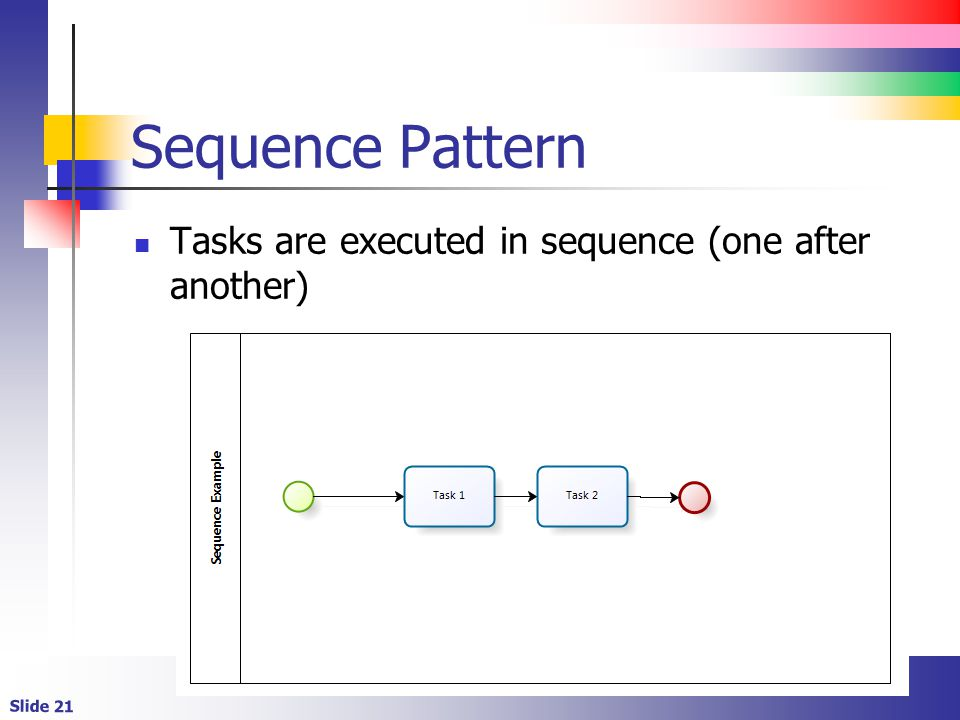 Slide 21 Sequence Pattern Tasks are executed in sequence (one after another)